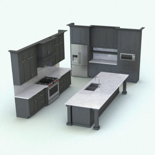 Revit Family / 3D Model - Traditional Kitchen With Island Rendered in Revit