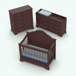 Revit Family / 3D Model - Antique Nursery Set Rendered in Revit