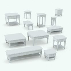 Revit Family / 3D Model - Classic Order Living Room Tables Set Variations