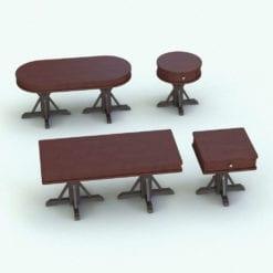 Revit Family / 3D Model - Antique Living Room Tables Set Rendered in Revit