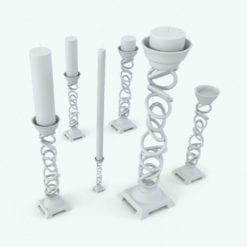 Revit Family / 3D Model - Candle Holder Rings Variations