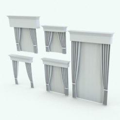 Revit Family / 3D Model - Classic Curtains Variations