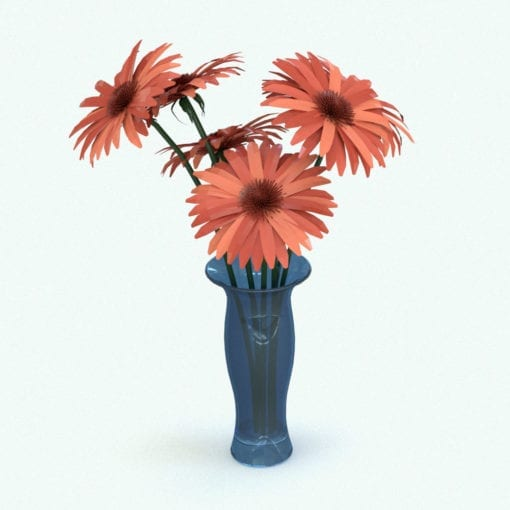 Revit Family / 3D Model - Gerberas Flowers Rendered in Revit