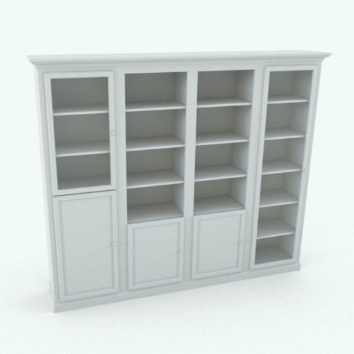 Revit Family / 3D Model - Modular Bookshelf With or Without Doors Perspective
