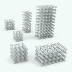 Revit Family / 3D Model - Octagonal Supports Wine Rack Variations