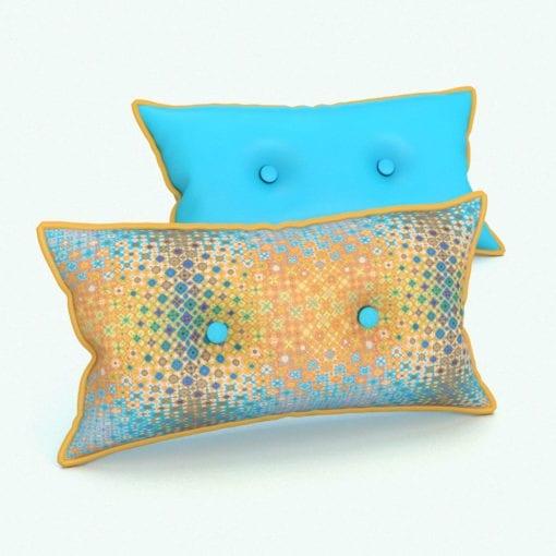 Revit Family / 3D Model - Rectangular Cushion 2 Buttons Rendered in Revit