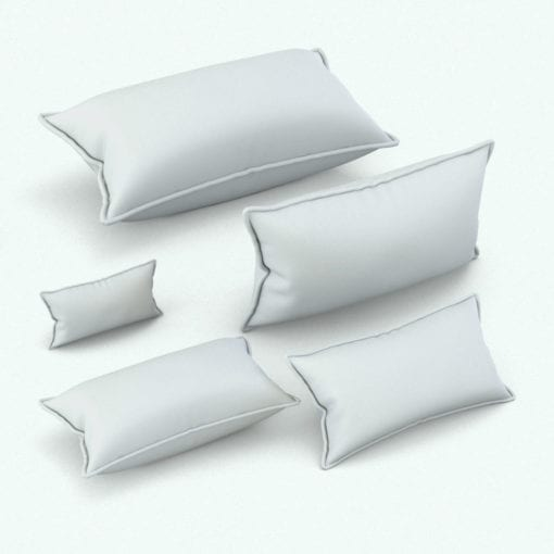 Revit Family / 3D Model - Rectangular Cushion With Piping Variations