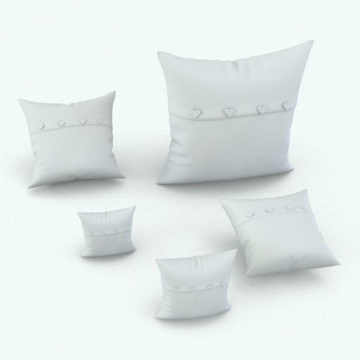 Revit Family / 3D Model - Square Cushion Heart Buttons Variations