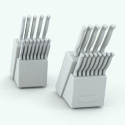 Revit Family / 3D Model - Stainless Steel Knife Block Variations