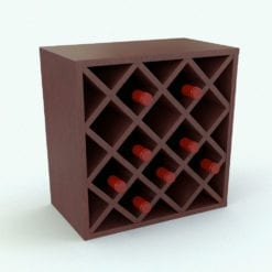 Revit Family - Traditional Wine Rack Squares Rendered in Revit