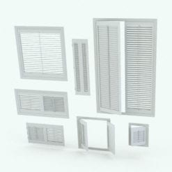 Revit Family / 3D Model - Wooden Shutters Variations