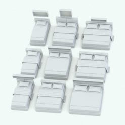 Revit Family / 3D Model - Bed With Shelf Variations