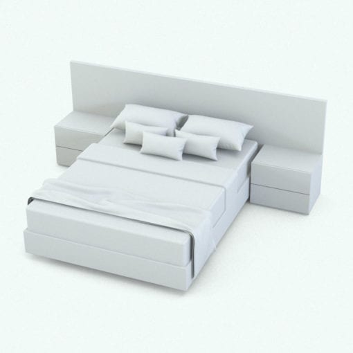 Revit Family / 3D Model - Box Stands Bed Perspective