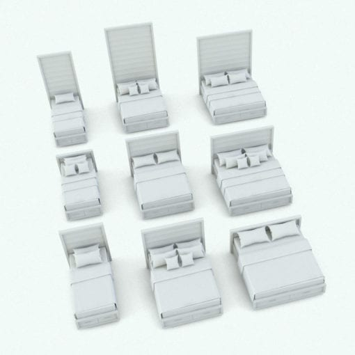 Revit Family / 3D Model - Curved In Drawers Bed Set Bed Variations