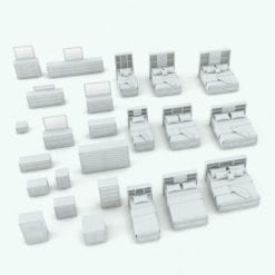 Revit Family / 3D Model - Pyramidal Drawers Bed Set Variations