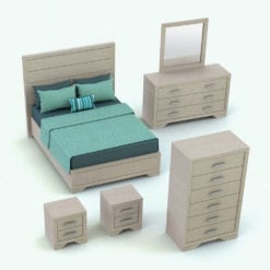 Revit Family / 3D Model - Rectangular Handles Bed Set Rendered in Revit