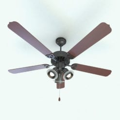 Revit Family / 3D Model - Traditional Ceiling Fan 3 Lights Rendered in Revit