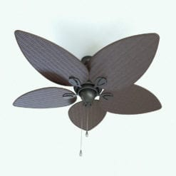 Revit Family / 3D Model - Tropical Ceiling Fan Rendered in Revit