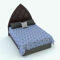 Revit Family / 3D Model - Bed With Gothic Headboard Rendered in Revit