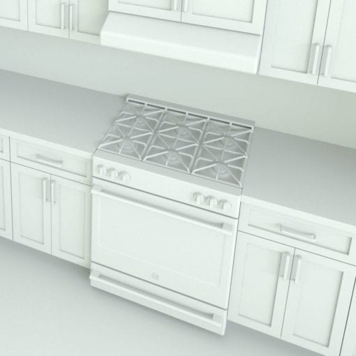 Revit Family / 3D Model - L-Shape Kitchen With Mouldings and Island Detail 2