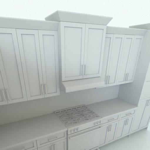 Revit Family / 3D Model - L-Shape Kitchen With Mouldings and Island Detail 4