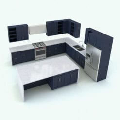 Revit Family / 3D Model - Modern Kitchen With Island Rendered in Revit