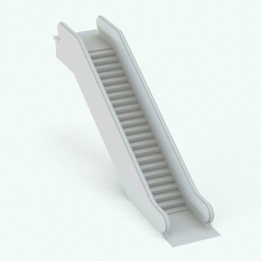 Revit Family / 3D Model - Solid Balustrade Escalator Perspective