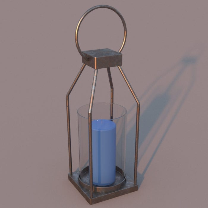 Modern Hollow Structure Candle Revit Family with materials