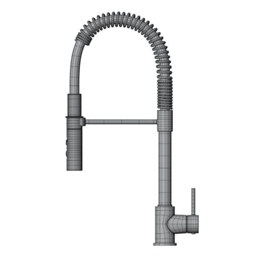 Revit Family / 3D Model - Pull Down Modern Kitchen Faucet Side View