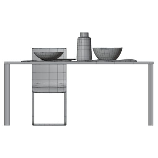 Revit Family / 3D Model - Sleek Rectangular Wooden Metal Dining Set Side View