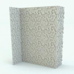 Revit Family / 3D Model - Hexagonal Panels Wall Trim Rendered in Vray