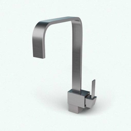 Revit Family / 3D Model - Square Kitchen Faucet Mixer Rendered in Vray