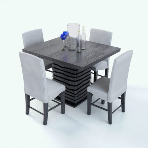 Revit Family / 3D Model - Square Layered Base Dining Set Rendered in Vray