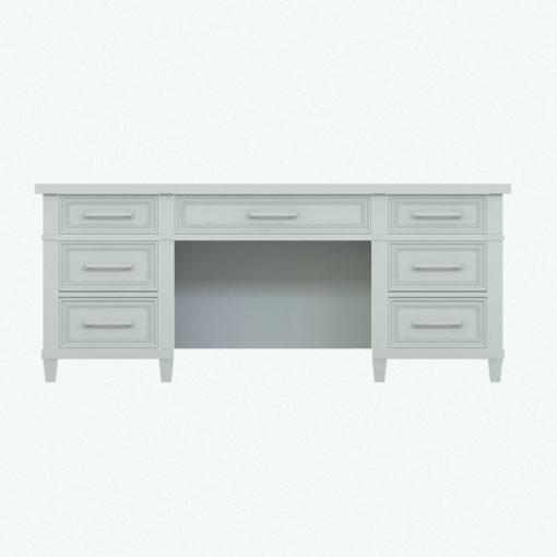 Revit Family / 3D Model - Classic Wooden Desk Front View