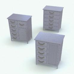 Revit Family / 3D Model - Drawers-Doors Bathroom Cabinet Rendered in Vray